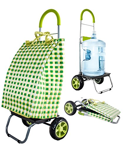 dbest products Trolley Dolly Basket Weave Tote, Green Shopping Grocery Foldable Cart Picnic Beach