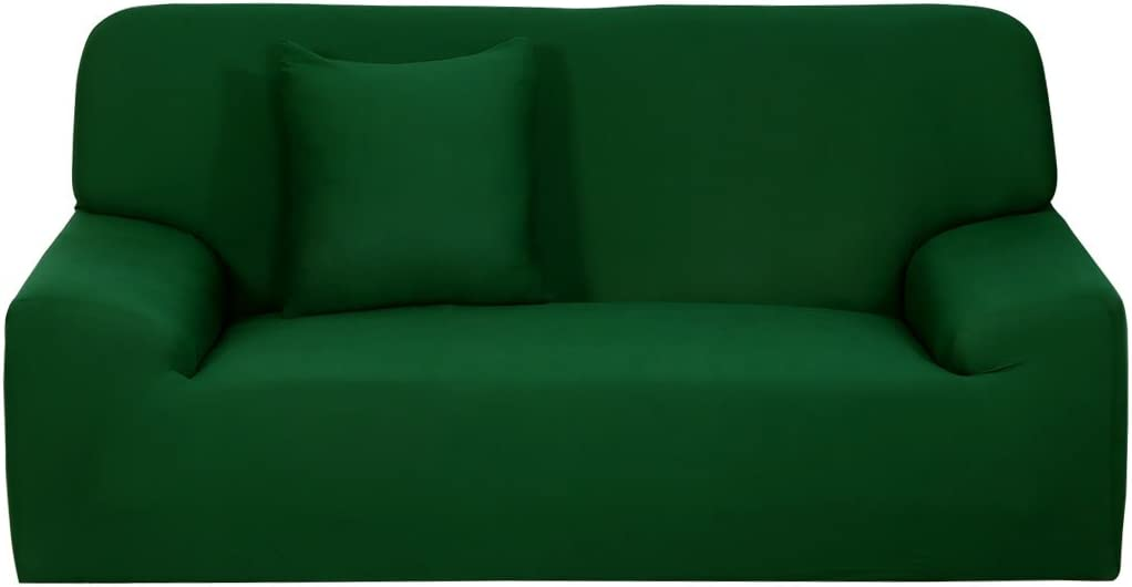 uxcell Stretch Sofa Cover Chair Loveseat Couch Slipcover, Machine Washable, Stylish Furniture Protector with One Cushion Case Dark Green Loveseat-2seater (57-67in)