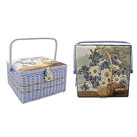 13.4 x 13.4 x 8 inches SAXTX 100/% Handmade Extra Large Sewing Basket with 107 Pcs Professional Accessories|Vintage Wooden Sewing Box Organizer Sewing Kit Baskets with Compartments