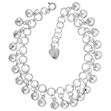 Sterling Silver Jingle Bells Charm Bracelet 15mm wide, fits 7-8 inch wrists