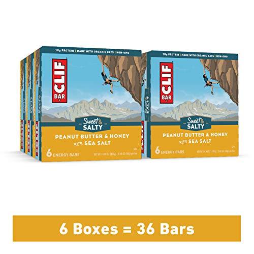 Clif Bar Energy Bars – Bulk Snacks – Peanut Butter & Honey w/ Sea Salt (6 Packs, 36 Total Protein Bars)