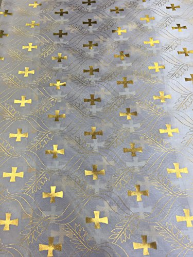 Satin Foil Gold Cross Design (White/Silver) (60 in.)Fabric Sold By The (Silver Foil Cross)