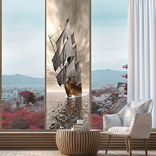 YOLIYANA Privacy Frosted Decorative Vinyl Decal Window Film,Ocean,for Bathroom, Kitchen, Home, Easy to Install,3D Style Pirate Ship Sea Historic Vessel Cloudy,24''x78'' ()