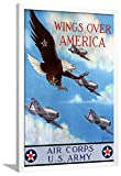 ArtEdge Wings Over America Air Corps U.S. Army-WWII War Propaganda Wall Art Framed Print, 36x24, White Unmatted