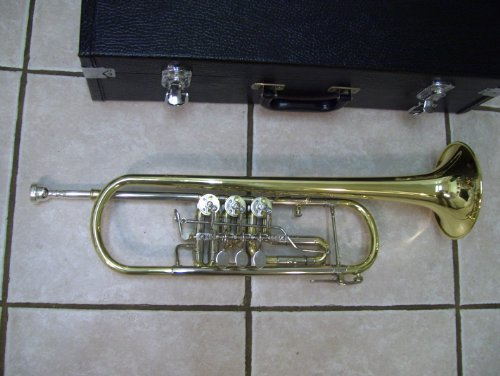 Rotary trumpet with case and mouthpiece, gold