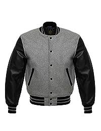 Letterman Baseball Varsity Jackets Black Leather Gray Wool