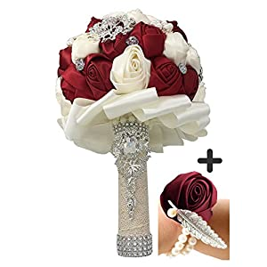 JACKCSALE Wedding Bride Bridal Bouquet Brooch Bouquet Bridesmaid Valentine's Day Bouquet Confession with Free Corsage (D453 winered+corsage) 59