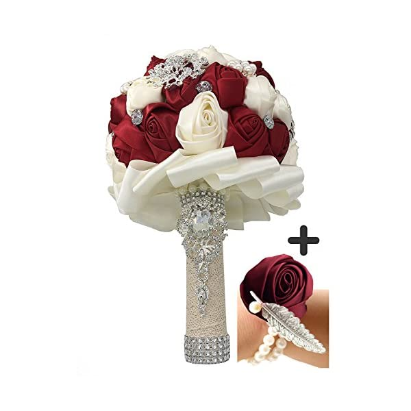 Jackscale JACKCSALE Wedding Bride Bridal Bouquet Brooch Bouquet Bridesmaid Valentine's Day Bouquet Confession with Free Corsage (D453 WineRed+Corsage)