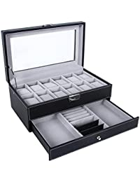 12 Slots Watch Box Mens Watch Organizer Lockable Jewelry Display Case with Real Glass Top Black Faux Leather UJWB012