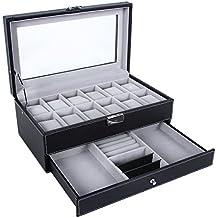 SONGMICS Watch Box 12 Mens Watch Organizer Jewelry Display Case Lock Keys Black UJWB012