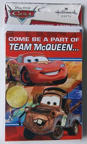 Cars Team McQueen Party Invitations and Thank You Notes -