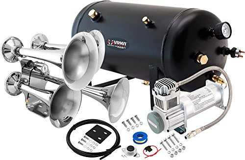 Vixen Horns Loud 152dB 4/Quad Chrome Trumpet Train Air Horn with 5 Gallon Tank and 200 PSI Compressor Full/Complete Onboard System/Kit VXO8350/4318 (Truck Complete Set Wiring)