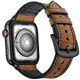 Mifa Hybrid Leather Sports Band Compatible with Apple Watch Vintage Dressy Bands Dark Brown Replacement Straps Sweatproof iwatch Series 4 1 2 3 Nike Space Black Grey 42mm 44mm Men (42mm/44mm - Brown)