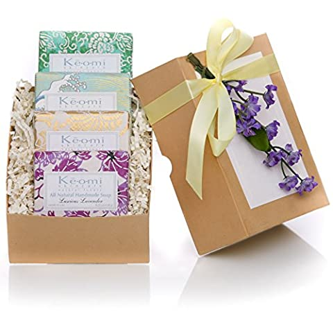 ORGANIC HANDMADE SOAP GIFT SET - Scented w/100% Pure Essential Oils - 4 Full Size Bars - Packaged in an Elegant Embossed Gift Box w/ Satin Ribbon & Floral Embellishment - Each Bar Individually Wrapped in Handmade Artisan Paper PAMPER HER w/ LUXURY WHILE LIFTING HER - Satin Covered Card Box