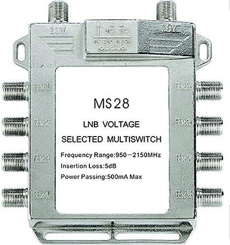 Buwico® 2 en 8 DiSEqC Interruptor satélite múltiple (satélite Antena plana LNB interruptor para televisor receptor