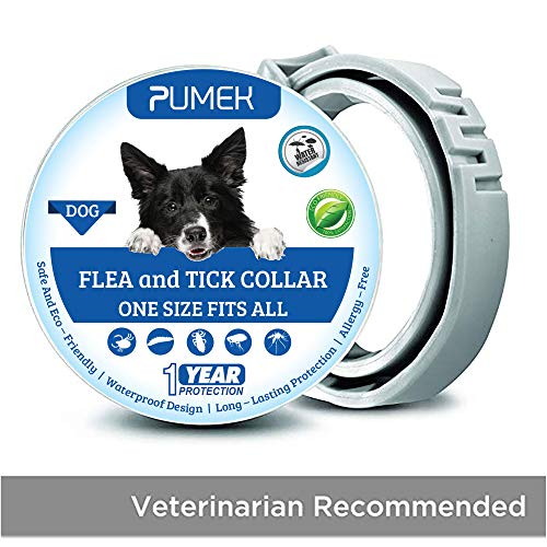 PUMEK Dogs Flea and Tick Collar - Flea and Tick Prevention for Dogs Up to 1 Year - All Weights and Sizes - Adjustable and Waterproof with 100% Natural Flea and Tick Control Collar [Upgrade Version] (Best Flea & Tick Collar For Dogs)