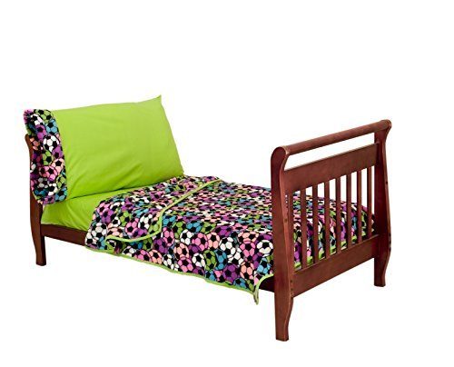 Baby Doll Bedding Cozy Plush Soccer Sports Primary Toddler Bedding Set, Lime