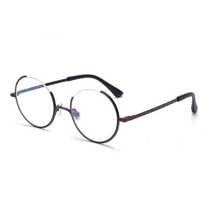 Amazon.com: SO SMOOTH WIND Glasses Frame Three Fourths Round Retro ...
