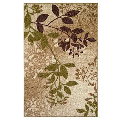 Beige Leaves - Mainstays Belvedere Tan Leaves Print Area Rug or Runner,5'x7',Beige
