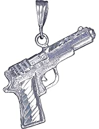 Sterling Silver Colt 45 Handgun Pendant Necklace Diamond Cut Finish Chain