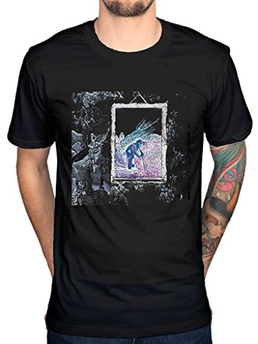 (AWDIP Men's Official Led Zepplin 4 Album Cover T-Shirt Rock Band IV Blac Dog)