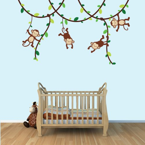 Green and Brown Monkey Wall Decal for Baby Nursery or Kid's Room, Fabric Vine Decal ()
