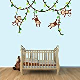 Green and Brown Monkey Wall Decal for Baby Nursery or Kid's Room, Fabric Vine Decal