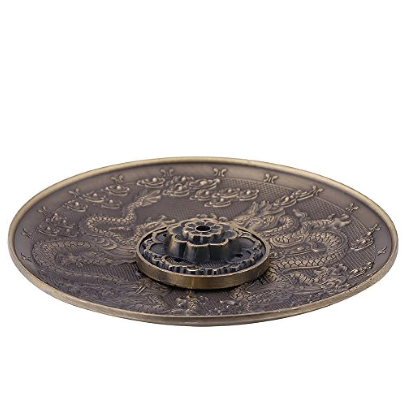 頻繁に衝突する役に立たない香皿 亜鉛の香り バーナーホルダー寝室の神殿のオフィスのためのドラゴンパターンの香炉プレート(ブロンズ)