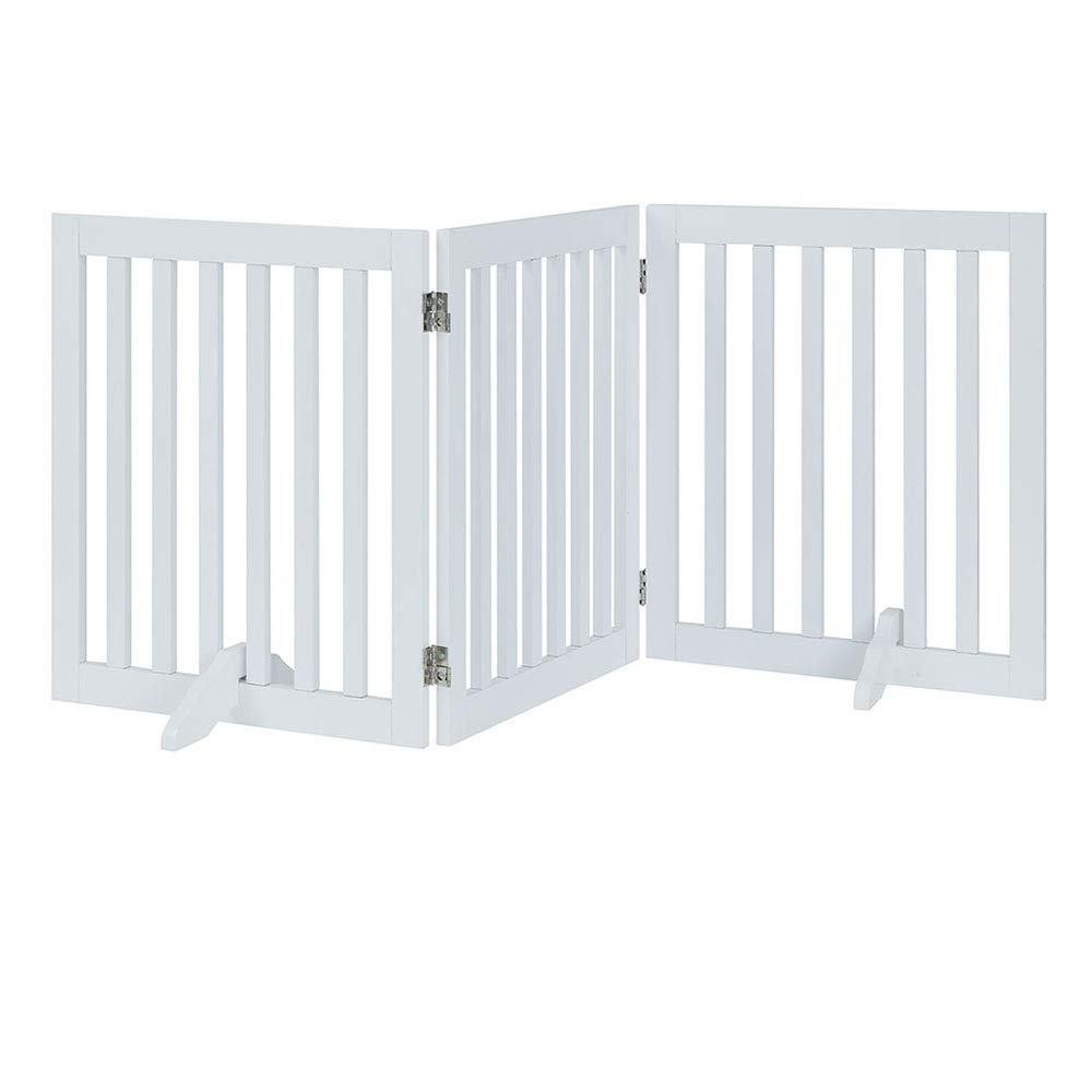 unipaws Freestanding Wooden Dog Gate, Foldable Pet Gate with 2Pcs Support Feet Dog Barrier Indoor Pet Gate Panels for Stairs, White (3 Panels, 20 inches Wide, 24 inches High) by unipaws