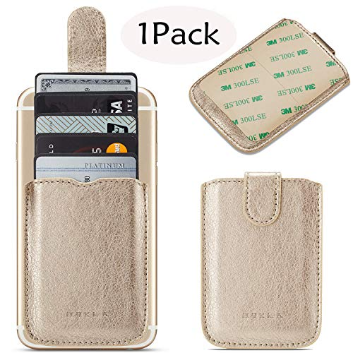 Phone Card Holder Credit 3M Stick Back On Wallet Pull 5Business Card Holder for Back of Phone Cell RFID Card ID Holder Adhesive Phone Pocket for iPhone XS MAX Android and All Smartphones (Gold)