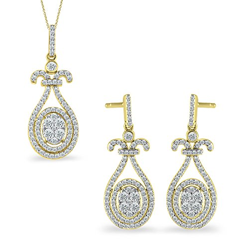 Cut Diamond Dangle Earrings - 10K Yellow Gold 1.13 Carat Natural Round Cut Diamond Drop Dangle Earrings Pendant Set (Free Silver Chain)