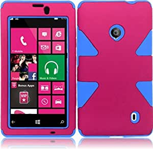 For Nokia Lumia 521 Dynamic Hybrid Tuff Impact Aztec Cover Case (Hot Pink / Sky Blue)