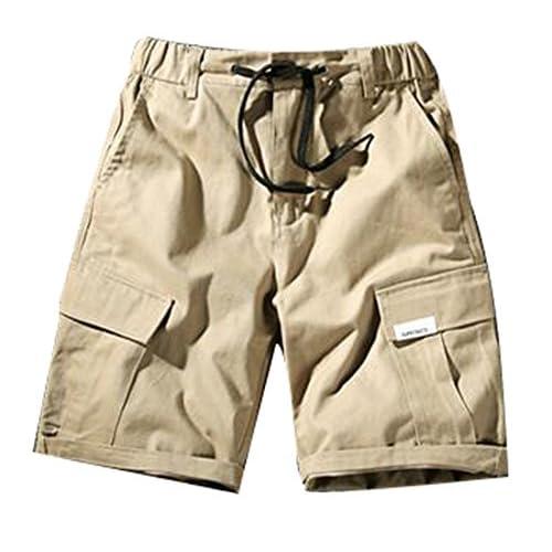ac53821899 Papijam Men Elastic Waist Pockets Tie Front Cuffed Beach BoardShorts  delicate