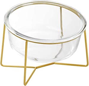 Glass Tilted Elevated Cat Dog Bowl Raised Cat Food Water Bowl Dish Pet Comfort Feeding Bowls with Gold Iron Stand Easy to Clean Healthy Eating