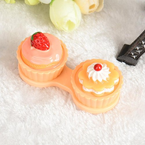 Discount Halloween Contact Lenses (DZT1968 Cute Cartoon Strawberry Cake Cream Shape Contact Lens Case Box Set with Holder)