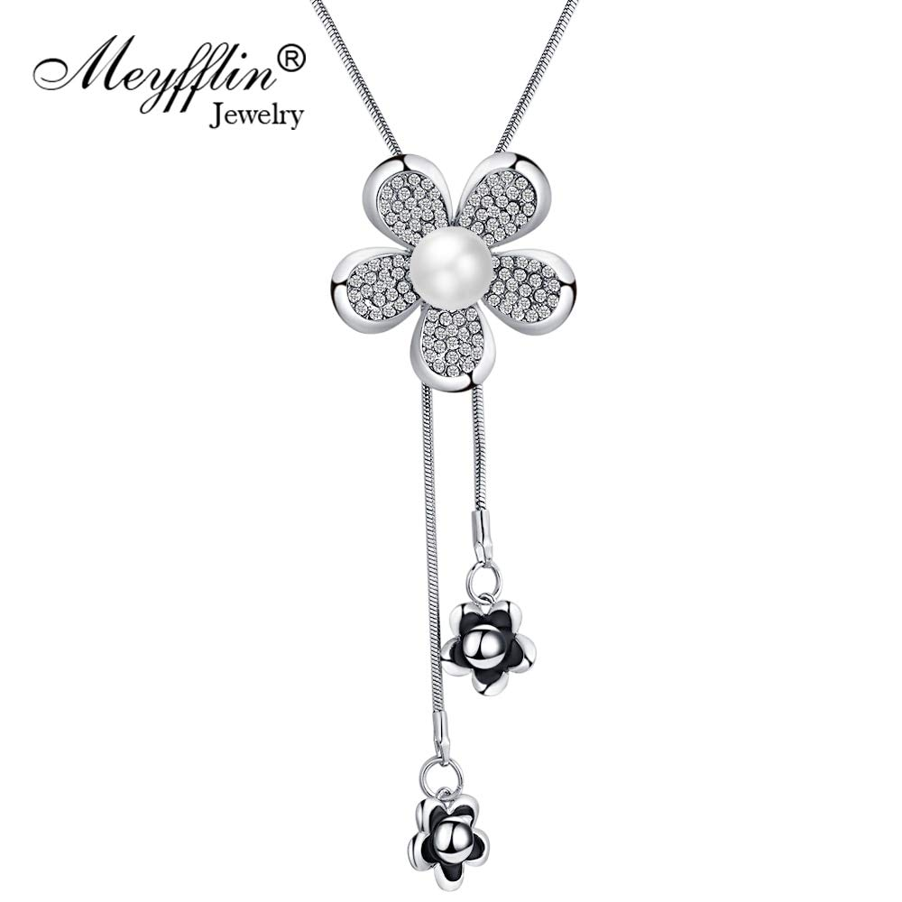 Davitu New Flower Womens Necklace Female Fashion Long Crystal Necklaces /& Pendants Silver Color Chain Collier Femme Jewelry