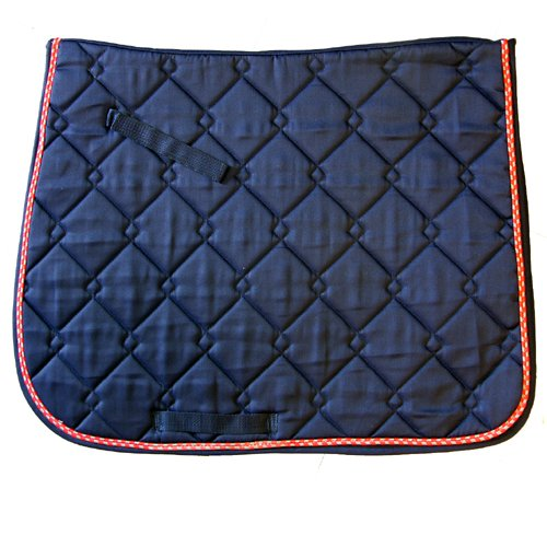 al Dressage Saddle Pad, Navy and Red/Grey, Quilted (International Dressage Saddle)