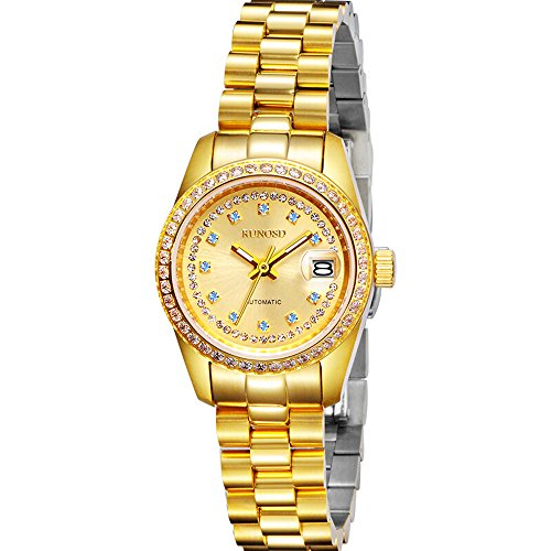 RUNOSD Luxury Automatic Mechanical Women's Watches Gold Plated Watches with Rhinestones (Blue Diamond) by RUNOSD