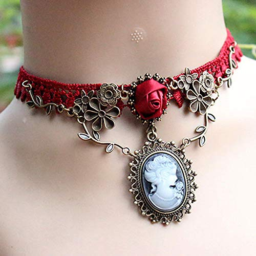 New Stylish Cameo Necklace Choker Red Rose Lace Fashion Ornaments Necklace Jewelry Women Gift Xmas Pendant Chokers Necklaces