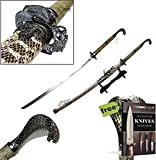 KING COBRA Head Handle 42.5'' KATANA Snake Skin Scabbard Samurai Sword with STAND Carbon Steel Sharp Blade + Free eBook by SURVIVAL STEEL