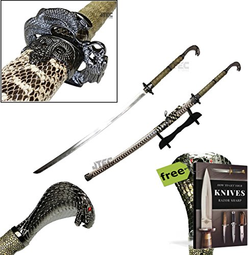 "KING COBRA Head Handle 42.5"" KATANA Snake Skin Scabbard Samurai Sword with STAND Carbon Steel Sharp Blade + Free eBook by SURVIVAL STEEL"
