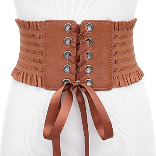 Renaissance Festival Outfit (Women Bowknot Tie Corset Elastic Stretchy Waist Belt Corsets with Tassel)