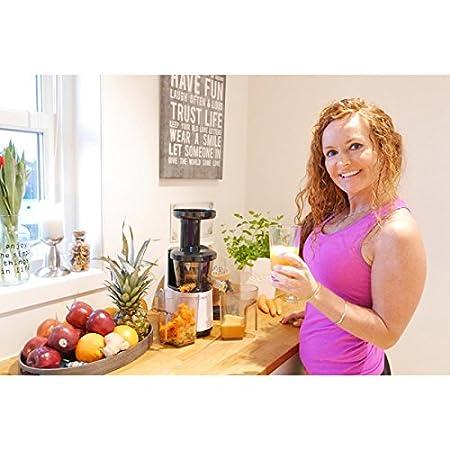 vasner Slow Juicer exprimidor exprimidor eléctrico 60 U/min, 150 W, color negro, fría Prensa para fruta + verduras, jarra, cepillo de limpieza, ...