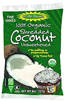 Let's Do Organic 100% Organic Unsweetened Shredded Coconut, 8 Ounce (Pack of 6)