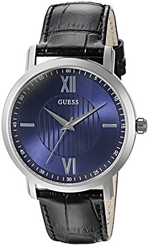 GUESS Men's U0793G2 Diamond Dial Watch with Blue Dial on Black Genuine Leather Strap