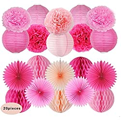 Sogorge 20 Pcs Rose Peach Pink paper lantern honeycomb ball pom pom For Baby Shower Birthday Decoration,Bridal Wedding Party Supplie