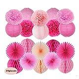 Sogorge 20 Pcs Rose Peach Pink paper lantern honeycomb ball pom pom For Baby Shower Birthday Decoration,Bridal Wedding Party Supplie