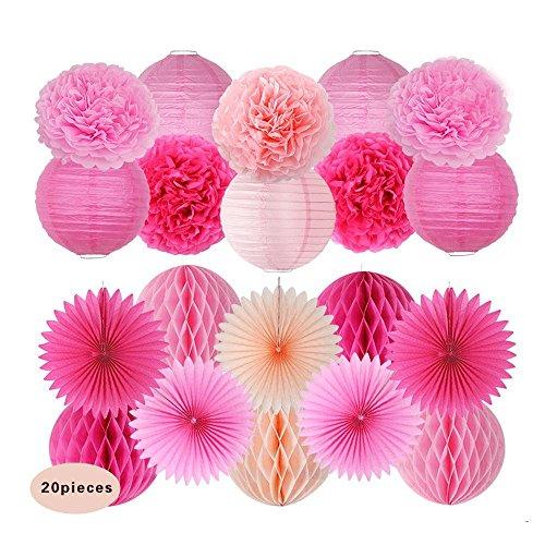 Sogorge 20 Pcs Rose Peach Pink Paper Lantern Honeycomb Ball pom pom for Baby Shower Birthday Decoration,Bridal Wedding Party Supplie -