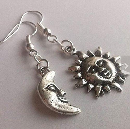 Asymmetrical Mismatched Earrings Silver Sun and Moon Smiling Sun Moon Face Celestial Dangling Earrings -