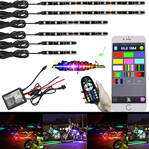 (NBWDY 6Pcs Motorcycle LED Light Kit Strips Multi-Color Accent Glow Neon Ground Effect Atmosphere Lights Lamp with Music Bluetooth RGB Controller for motorcycle,ATV,golf Car (Pack of 6))